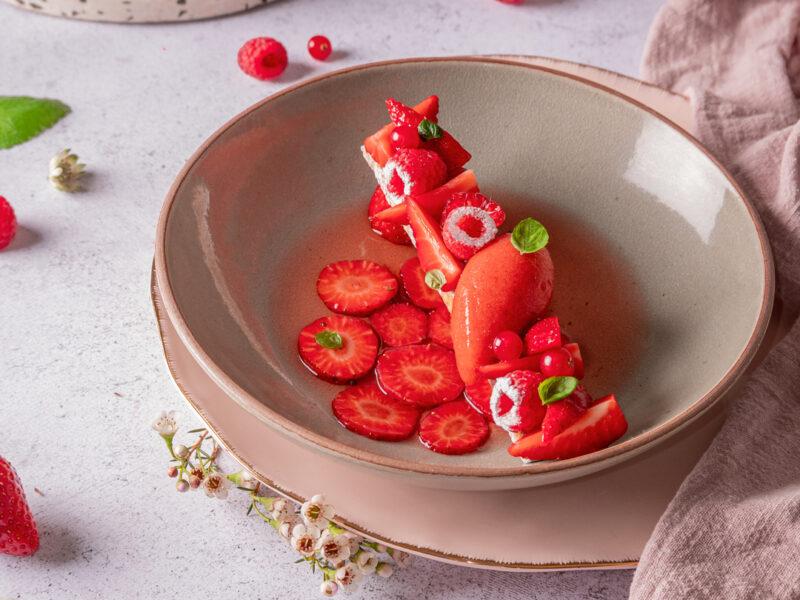 Recette nage de fraise, sorbet fraise, sablé citron