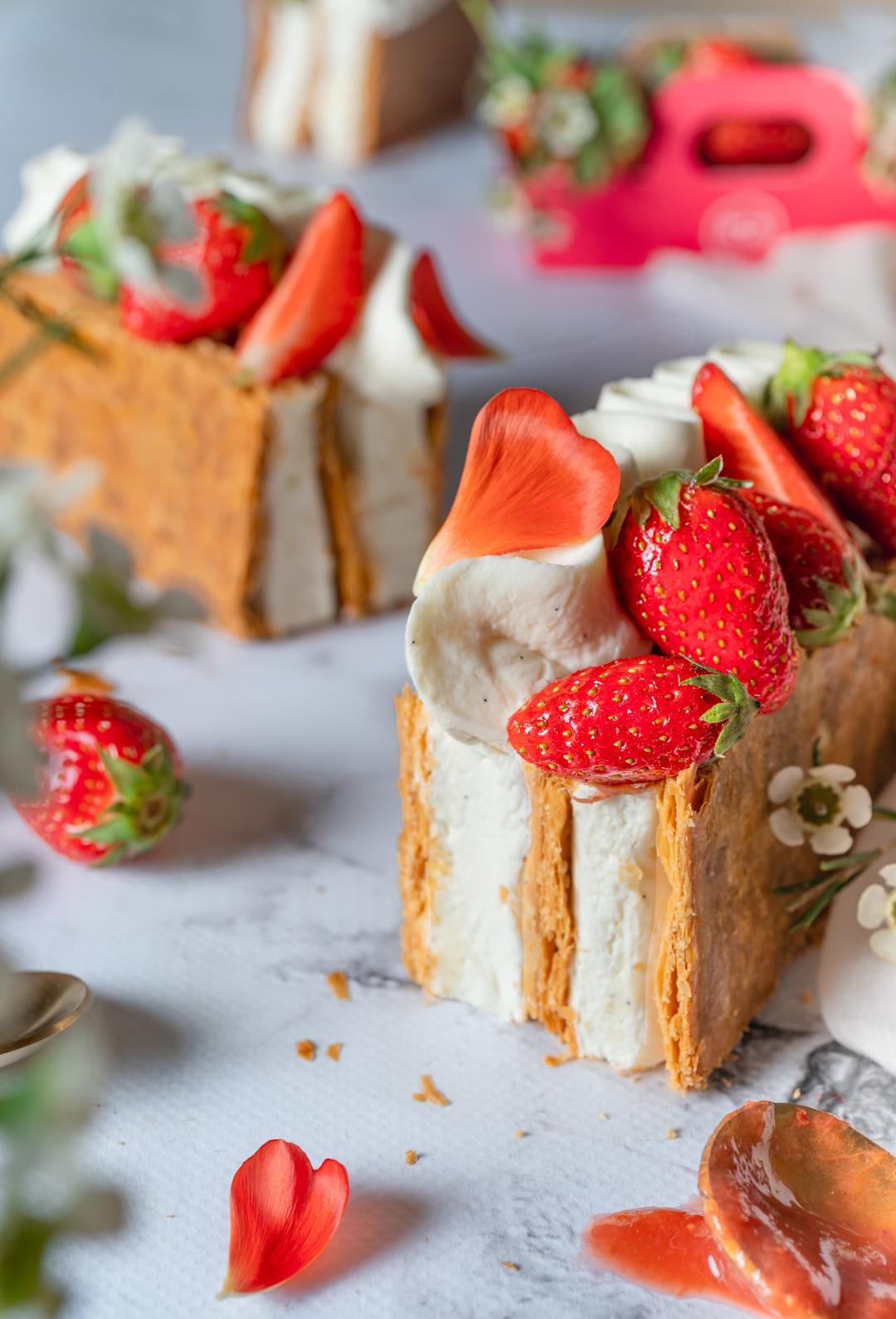 Recette Millefeuille vanille composée fraise rhubarbe