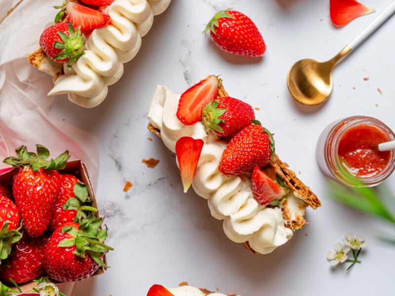 Recette millefeuille composée fraise rhubarbe
